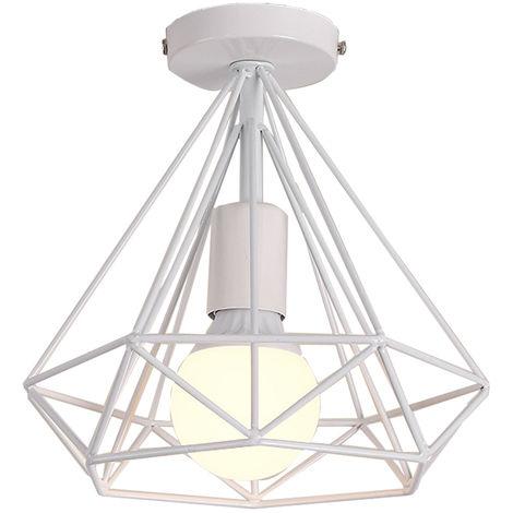 Lámpara Colgante Vintage de jaula forma de diamante 25cm (Blanco)Retro Lámpara de Techo industrial para Salón de Comedor Hotel Restaurante Cafe