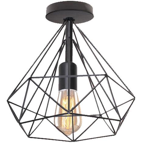 Lámpara Colgante Vintage de jaula forma de diamante 25cm (Negro)Retro lámpara de Techo industrial Iluminación Metal Hierro E27 para Salón de Comedor Hotel Restaurante