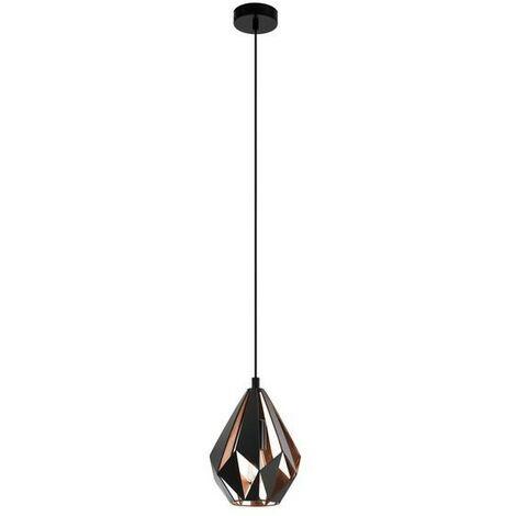 Lámpara colgante vintage de metal negro y cobre 220-240 V IP20   rame