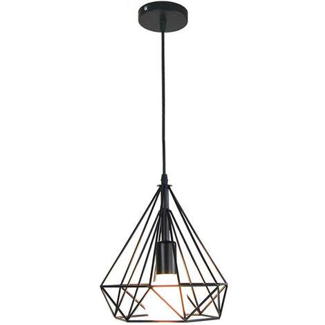 Lámpara Colgante Vintage Jaula Diamante 25cm Luz de Techo Industrial Luz Colgante Retro E27 Luminaria de Metal Retro Negro