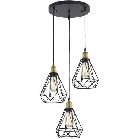 Lámpara Colgante Vintage Lámpara Industrial Lámpara de Suspensión Retro E27 Lámpara de Techo de Metal para Cocina Sala de Estar Comedor Dormitorio Restaurante Pasillo Café, 3 Luces Negro