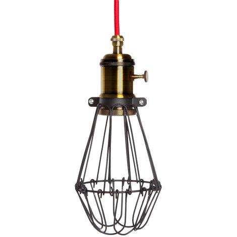 Lámpara Colgante vintage Negro-Rojo Portalámparas E27 Cable 5M Interruptor Rotativo Sawyer [AM-AT535] (AM-AT535)