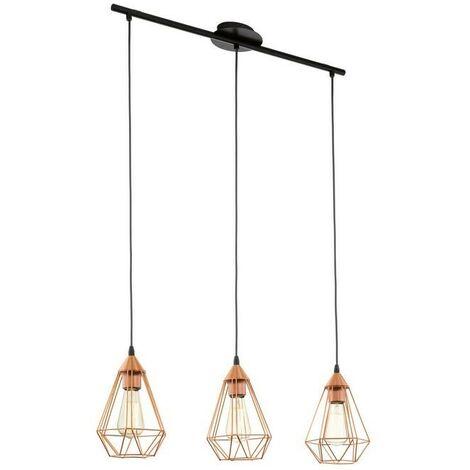 Lámpara colgante vintage sombra de cobre con tres puntos de luz 220-240 V IP20   rame