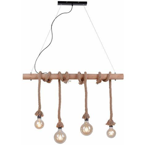 Lámpara colgante vintage vigas de madera lámpara de techo cuerda retro sala de estar colgante proyector luces directo 15483-18