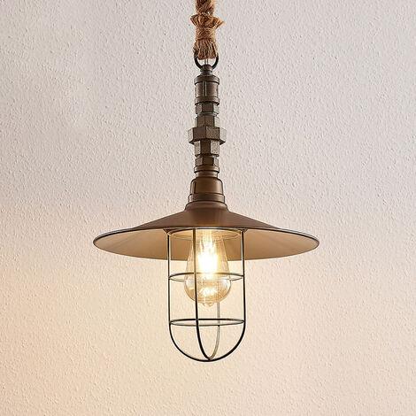 Lámpara colgante Zaida Vintage, pantalla de jaula
