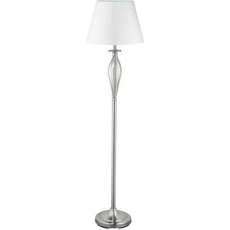 Lámpara con pantalla textil, Lámpara de pie, Interruptor, E27, Decorativa, Plateado