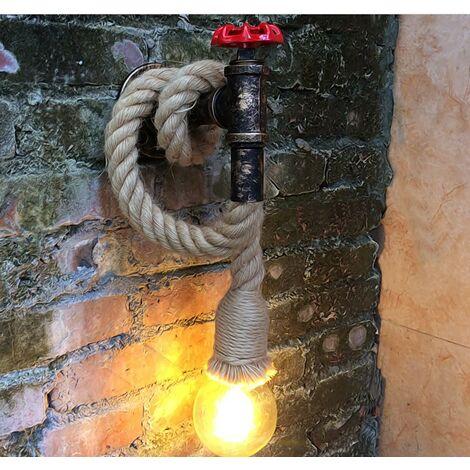 """main image of """"Lámpara Cuerda Tubería de agua Vintage Loft cuerda lámpara de pared portalámparas Antiguo retro E27 para sala de estar dormitorios restaurante club"""""""