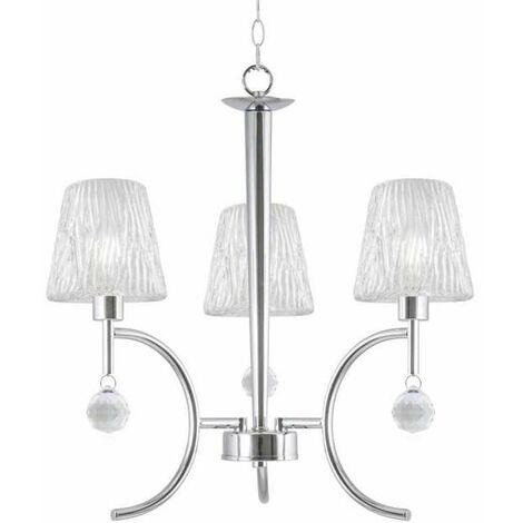 Lampara de 3 luces cromo/cristal modelo Violeta 67 cm(ancho) 47 cm(altura) 47 cm(fondo)
