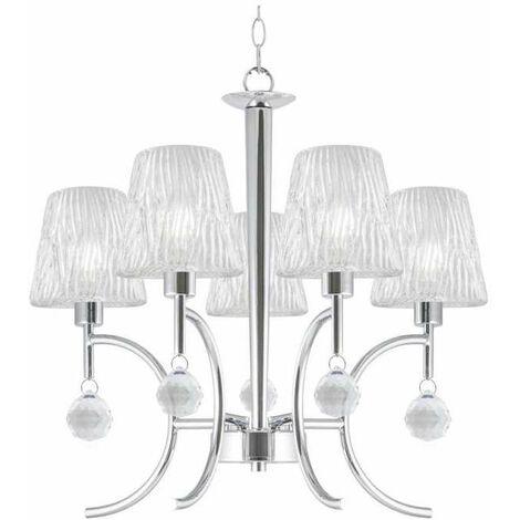 Lampara de 5 luces cromo/cristal modelo Violeta 67 cm(ancho) 53 cm(altura) 53 cm(fondo)