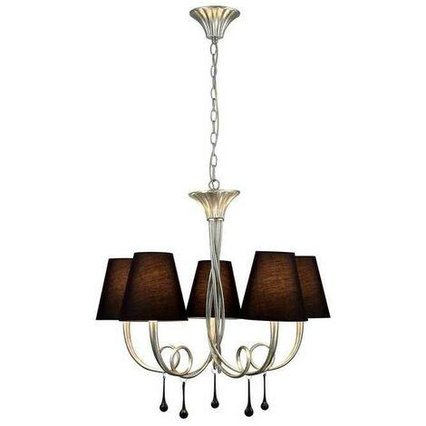 Lámpara de 5 luces plateada con pantalla PAOLA de Mantra
