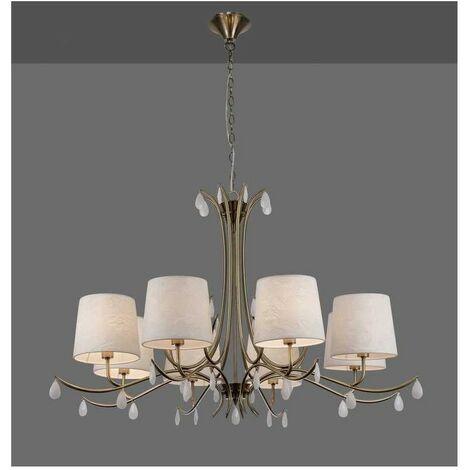 Lámpara de 8 luces para salon ANDREA cuero con pantalla