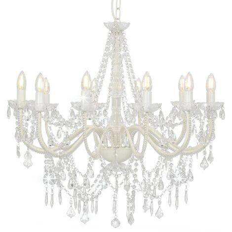 Lámpara de araña con cuentas blanco 12 bombillas E14 - Blanco