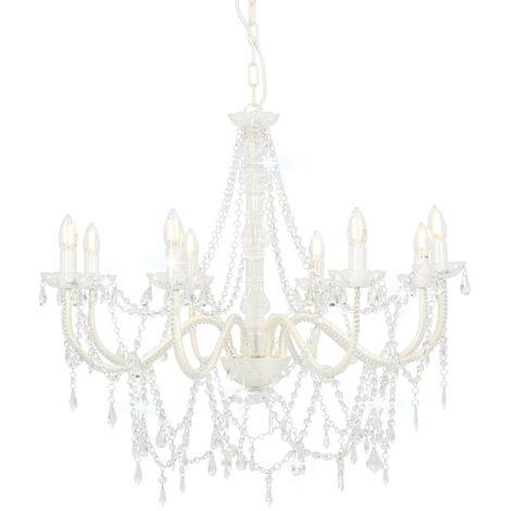 Lámpara de araña con cuentas blanco 8 bombillas E14