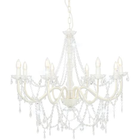 Lámpara de araña con cuentas blanco 8 bombillas E14 - Blanco