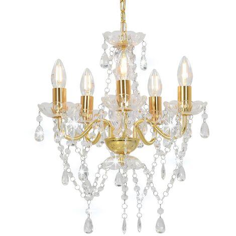 Lámpara de araña con cuentas de cristal dorado redonda 5 x E14