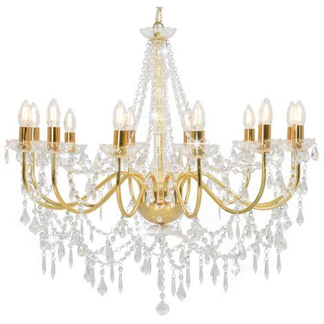 Lámpara de araña con cuentas dorado 12 bombillas E14