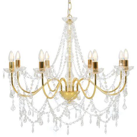 Lámpara de araña con cuentas dorado 8 bombillas E14