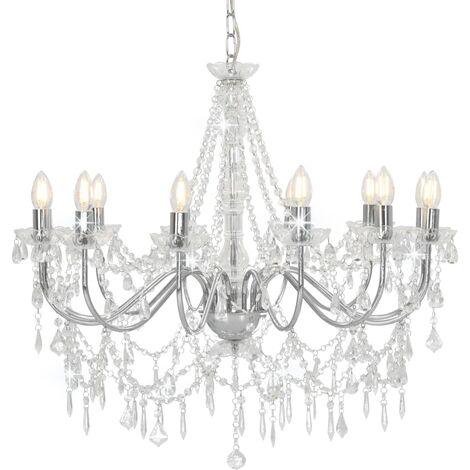 Lámpara de araña con cuentas plateado 12 bombillas E14 - Plateado