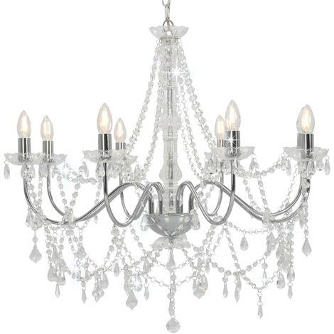 Lámpara de araña con cuentas plateado 8 bombillas E14