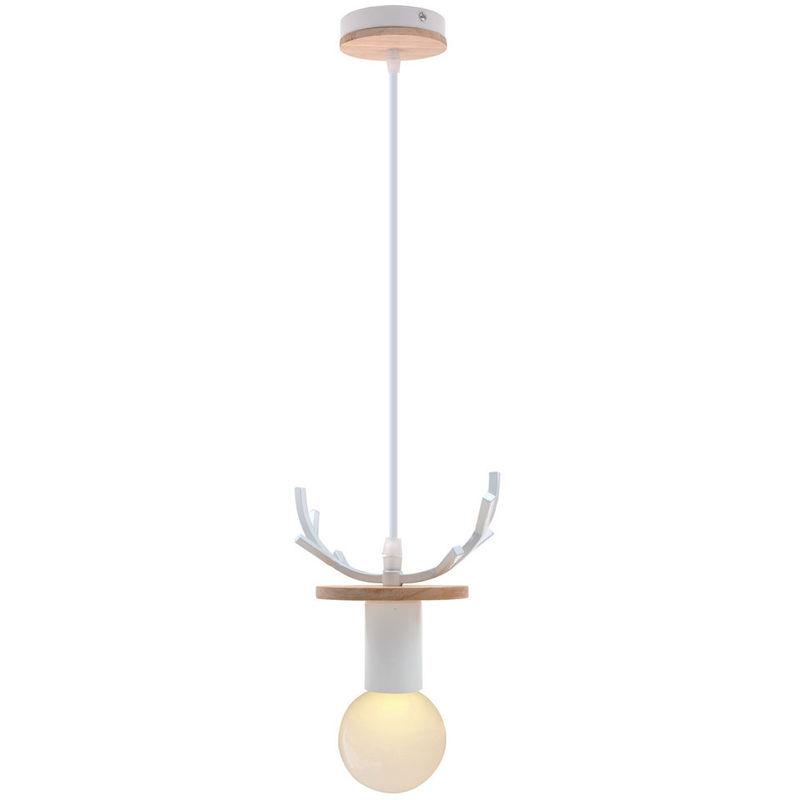 Lámpara de Araña Creativa de Ciervos Lámpara Colgante de Cornamenta Rural Lámpara de Techo Retro para Cafe Bar Office Blanco