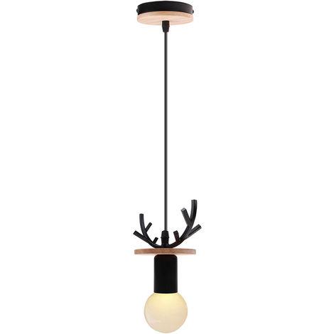 Lámpara de Araña Creativa de Ciervos Lámpara Colgante de Cornamenta Rural Lámpara de Techo Retro para Cafe Bar Office Negro