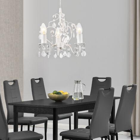 Lámpara de araña cristal 3 brazos - Lámpara de techo 3 x E14 - Luzern 140 x Ø 26 cm con decoración de cristal artificial blanco