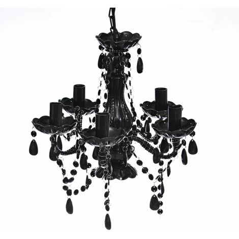 Lampara de arana de cristal 5 bombillas negra