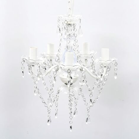 Lámpara de araña de cristal 5 bombillas transparente - Transparente
