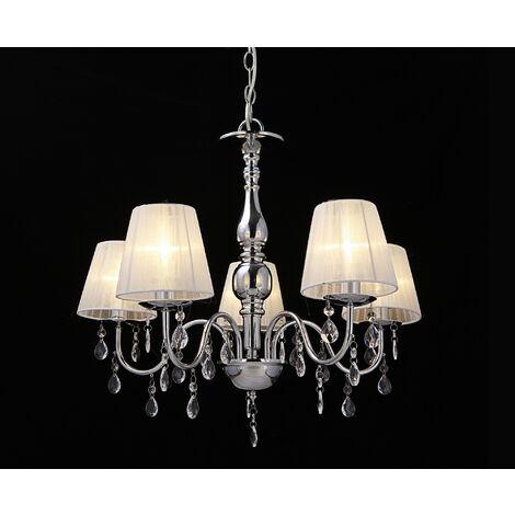 Lámpara de araña de cristal - blanca - E14 - Lámpara de techo moderna - 5 brazos Cromo