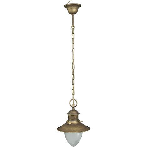Lámpara de araña de estilo Vieja Marina en moldeo de latón con efecto envejecido, Diam.25XH88 cm Hecho en Italia