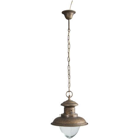 Lámpara de araña de estilo Vieja Marina en moldeo de latón con efecto envejecido Diam.30XH98 cm Made in Italy