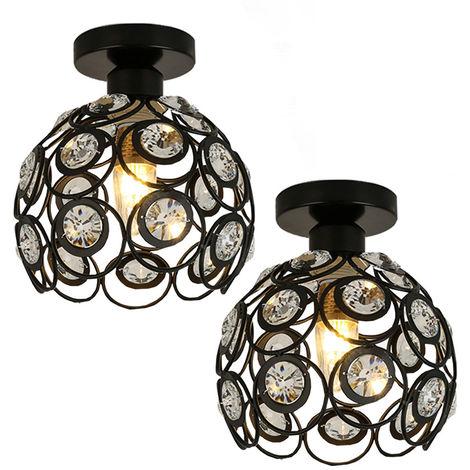 Lámpara de Araña de Metal Retro E27 Lámpara de Techo de Cristal de 20cm Araña Candelabro Moderna para Cocina Comedor de Oficina en Casa Dormitorio (Negro 2X)