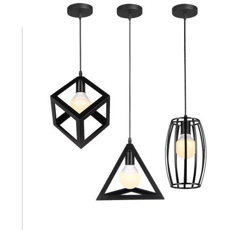 Lámpara de Araña Geométrica Lámpara de Techo de Jaula Metálica Retro Creativa Con Luz Colgante para Dormitorio Club Bar Negro