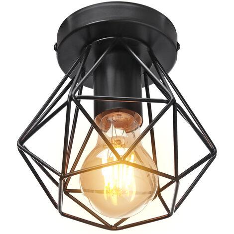 Lámpara de Araña Industrial Retro Lámpara de Techo de Jaula de Metal Lámpara Colgante Creativa para Interior Bar Club Negro