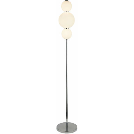 lámpara de bola de nieve 3 bombillas, con cromo pantalla opal cristal