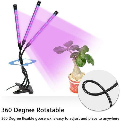 Lámpara de Crecimiento de Plantas, Rotación de Cuello de Cisne Flexible de 360 Grados, Luz de Planta LED, Luz de Relleno de Planta de Tres Cabezales USB