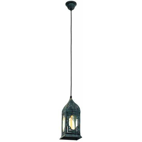 Lámpara de cristal de la lámpara colgante del pasillo de la sala de estar verde pátina de la luz del péndulo del techo de la vendimia Eglo 49211