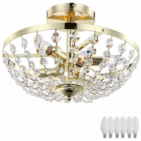 Lámpara de cristal de techo lámpara de cristal redonda interior de la habitación foco de metal en un conjunto que incluye iluminante LED