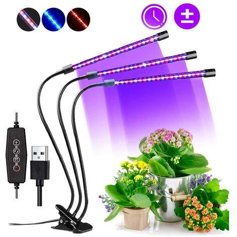 Lampara de Cultivo, 60 LED Espectro Completo USB Lampara para Planta Ajustable Led Grow Light con clip,3 Temporizadores Función de ON/OFF Automático para Interior,Jardín,Invernadero Plantas