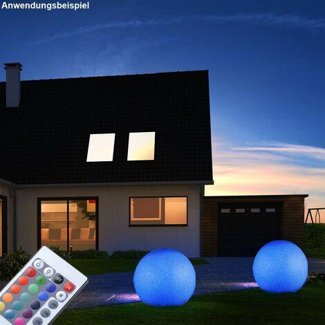 Lámpara de enchufe para exterior CONTROL REMOTO Foco de bola lámpara de jardín REGULABLE en un juego que incluye lámparas LED RGB