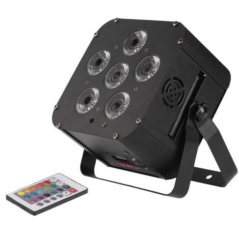 Lampara de escenario con luz PAR, con control remoto, 108W LED RGBWAP 6/10 canales