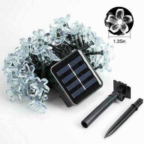 Lámpara de flores con energía solar 12M 100LED Impermeable IP65 Encendido constante / Guirnaldas intermitentes Guirnaldas Jardín Decoración navideña Decoración al aire libre Fiesta (Blanco cálido, 12M / 100LEDs)