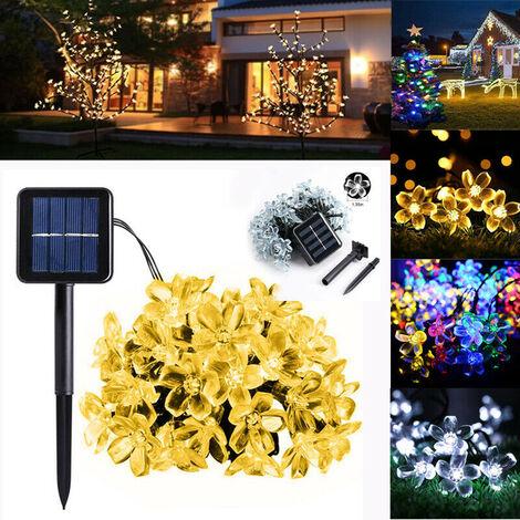 Lámpara de flores con energía solar 12M 100LED Impermeable IP65 Encendido constante / Guirnaldas intermitentes Guirnaldas Jardín Decoración navideña Decoración de fiesta al aire libre (Blanco, 50LED) Navidad
