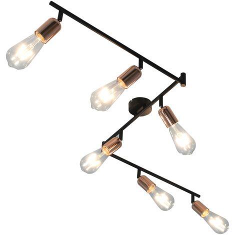 Lámpara de focos con 6 luces negro y cobre E27 30 cm