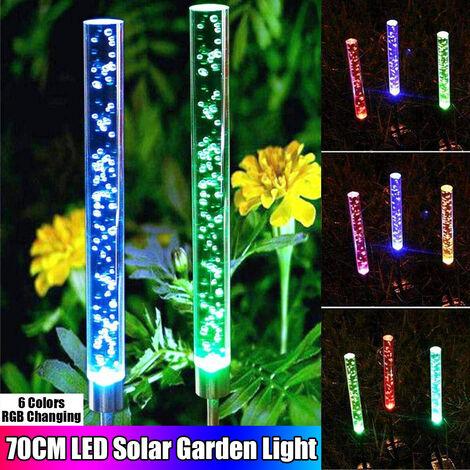 Lámpara de iluminación nocturna de decoración de paisaje al aire libre con luces solares que cambian de color RGB a prueba de agua (2 piezas)