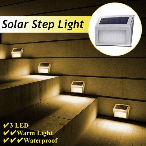 Lámpara de jardín de pared de escalera de 3 LED con energía solar cálida / blanca (amarillo, 1x)