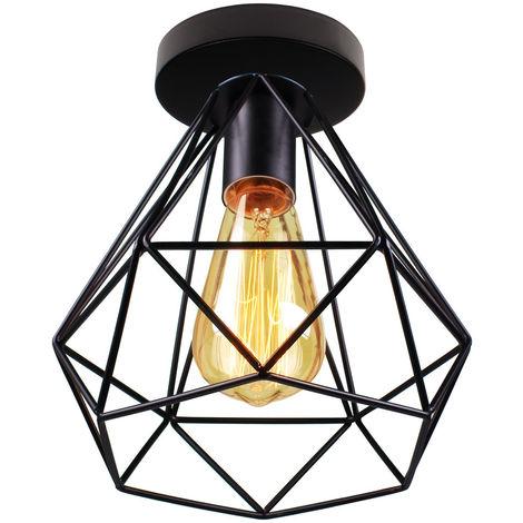 Lámpara de Jaula de Metal Lámpara de Techo de Diamante Retro Luz Colgante Industrial para Comedor Cafe Dedroom Office E27 Negro