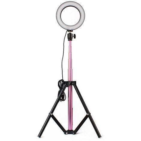 Lampara de la camara DC 5V 6W de luz LED redonda con selfie Desarrollado Operado, 20cm tripode telescopico USB, rosa