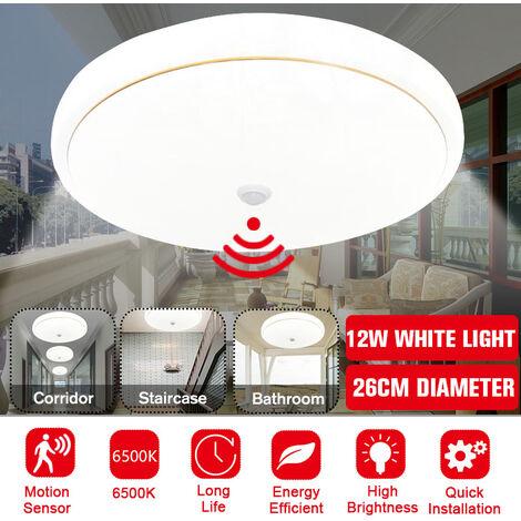 Lámpara de lámpara de techo LED blanca con sensor de movimiento redondo moderno