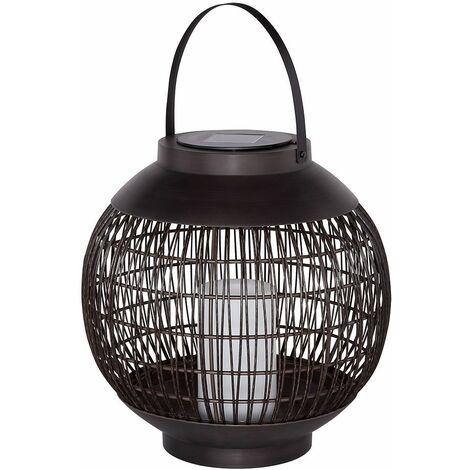 Lámpara de linterna solar exterior jaula de lámpara de mesa solar, lámpara colgante, metal negro, batería LED, DxH 29,3x41,7 cm